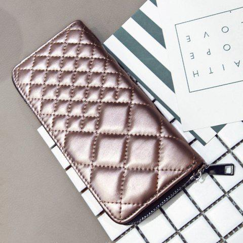 Outfit Zipper Around Quilted Clutch Wallet - CHAMPAGNE  Mobile