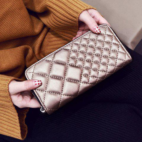 Latest Zipper Around Quilted Clutch Wallet - CHAMPAGNE  Mobile