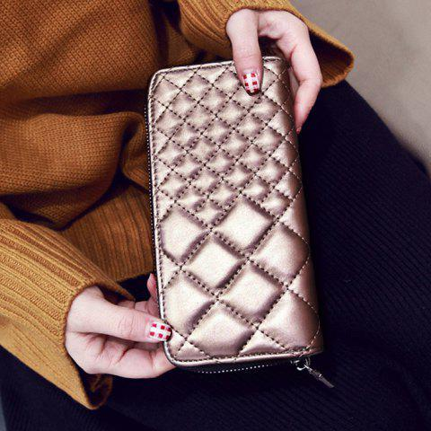 Fashion Zipper Around Quilted Clutch Wallet - CHAMPAGNE  Mobile