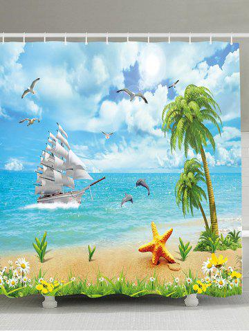 Latest Water Repellent Seascape Shower Curtain with Hooks SKY BLUE 150*180CM