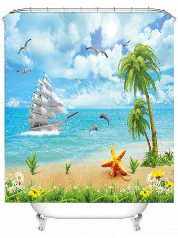 Affordable Water Repellent Seascape Shower Curtain with Hooks - 150*180CM SKY BLUE Mobile