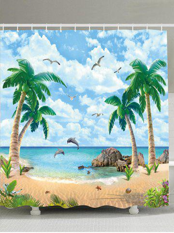 Latest Beach Palm Tree Waterproof Mouldproof Shower Curtain LIGHT BLUE 180*180CM