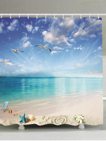 New Beach Landscape Water Resistant Fabric Shower Curtain SKY BLUE 180*180CM
