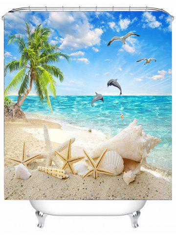 Sale Beach Scenery Eco-Friendly Bathroom Shower Curtain - 180*180CM SKY BLUE Mobile