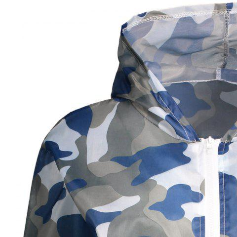Hot Camouflage Hooded Sun Protection Skin Windbreaker - ONE SIZE BLUE Mobile