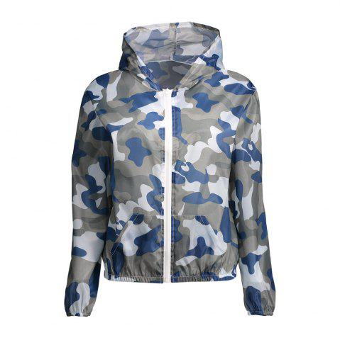 Camouflage Hooded Sun Protection Skin Windbreaker - BLUE ONE SIZE