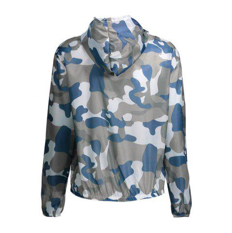Shop Camouflage Hooded Sun Protection Skin Windbreaker - ONE SIZE BLUE Mobile