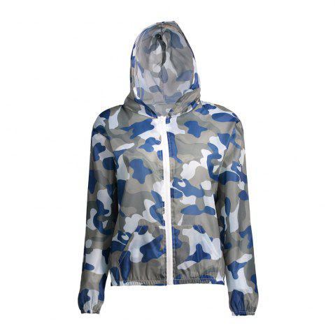 Latest Camouflage Hooded Sun Protection Skin Windbreaker - ONE SIZE BLUE Mobile