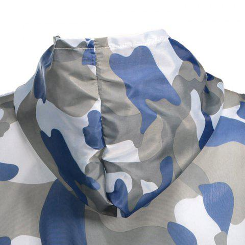 Best Camouflage Hooded Sun Protection Skin Windbreaker - ONE SIZE BLUE Mobile