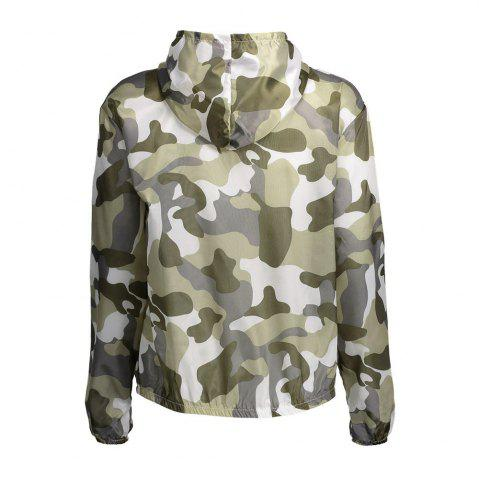 Hot Camouflage Hooded Sun Protection Skin Windbreaker - ONE SIZE ARMY GREEN Mobile