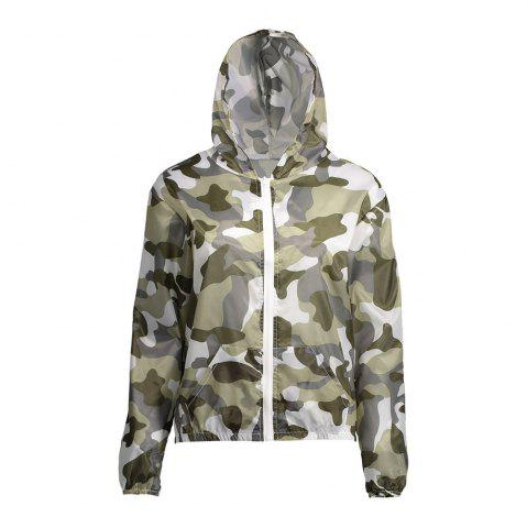 Shop Camouflage Hooded Sun Protection Skin Windbreaker - ONE SIZE ARMY GREEN Mobile