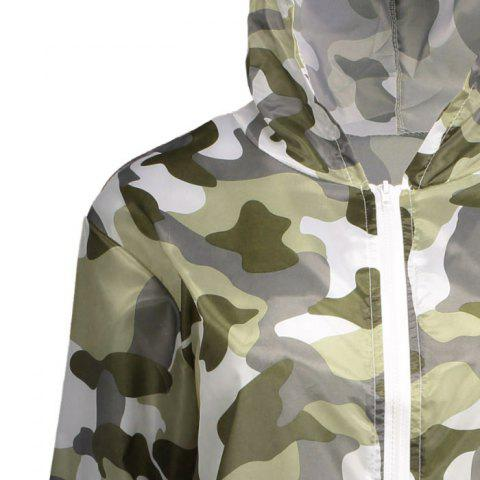 Best Camouflage Hooded Sun Protection Skin Windbreaker - ONE SIZE ARMY GREEN Mobile