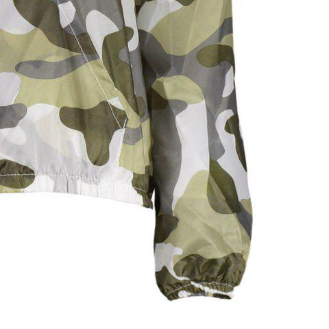 Sale Camouflage Hooded Sun Protection Skin Windbreaker - ONE SIZE ARMY GREEN Mobile
