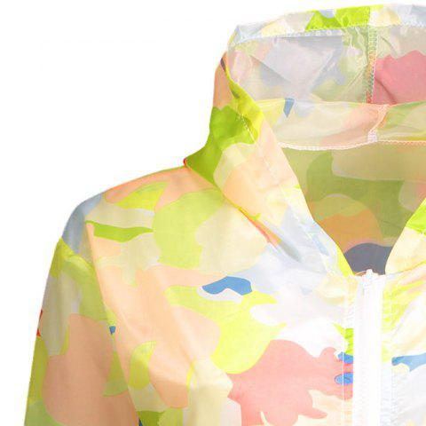 Cheap Camouflage Hooded Sun Protection Skin Windbreaker - ONE SIZE RED Mobile