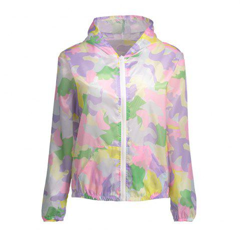 Hot Camouflage Hooded Sun Protection Skin Windbreaker - ONE SIZE SUEDE ROSE Mobile