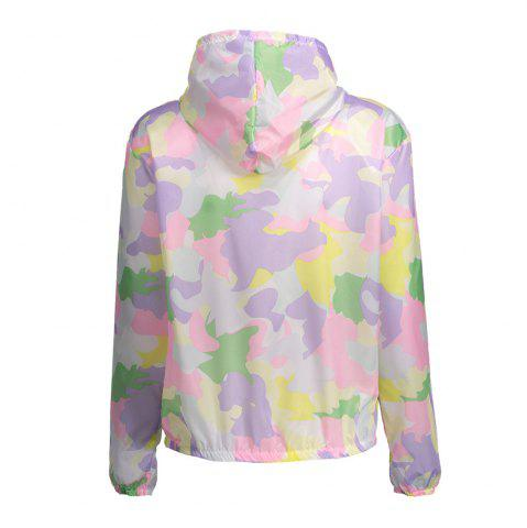 Cheap Camouflage Hooded Sun Protection Skin Windbreaker - ONE SIZE SUEDE ROSE Mobile