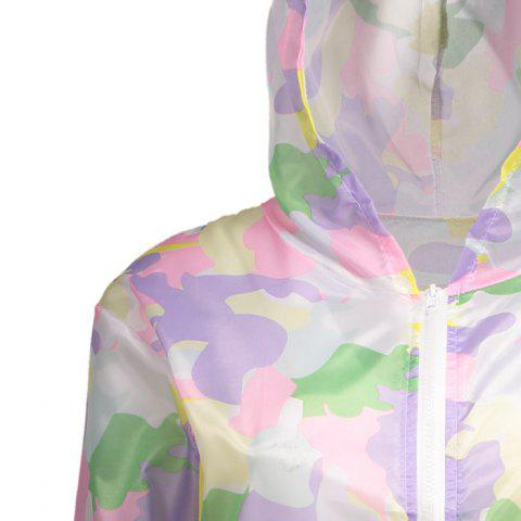 Sale Camouflage Hooded Sun Protection Skin Windbreaker - ONE SIZE SUEDE ROSE Mobile