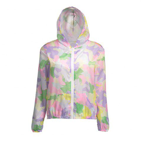 Best Camouflage Hooded Sun Protection Skin Windbreaker - ONE SIZE SUEDE ROSE Mobile
