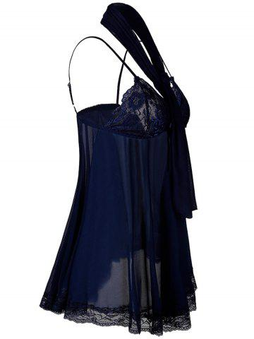 New See Through Plus Size Babydoll With Scarf - 4XL PURPLISH BLUE Mobile