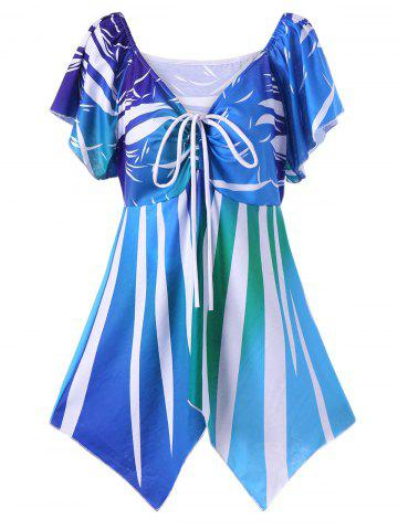 Sale Plus Size Butterfly Sleeve Asymmetric T-Shirt BLUE XL