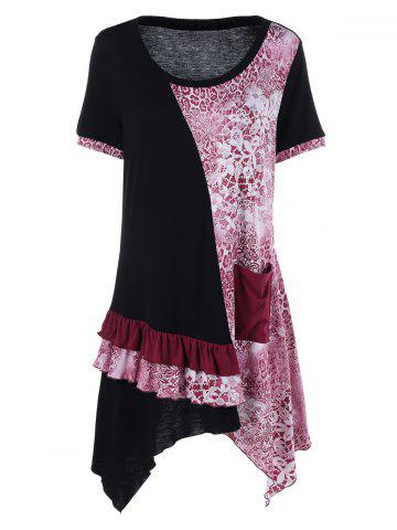 Plus Size Single Pocket Layered Asymmetrical T-Shirt - Black And White And Red - 5xl