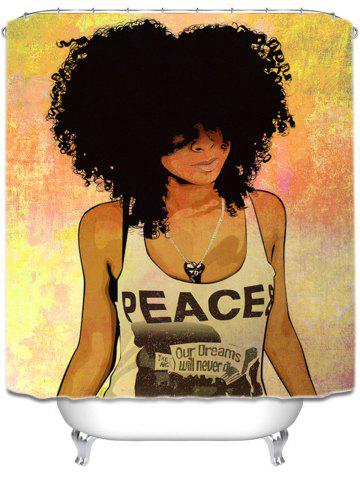 Online Shower Curtain with Hip Hop Afro Hair Girl Print - 150*180CM COLORMIX Mobile
