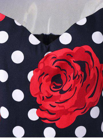 Sale Plus Size Floral and Polka Dot Bridesmaid Dress - 2XL BLACK AND WHITE AND RED Mobile