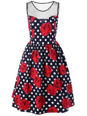 Unique Plus Size Floral and Polka Dot Bridesmaid Dress - 2XL BLACK AND WHITE AND RED Mobile