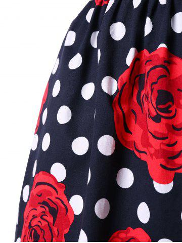 Online Plus Size Floral and Polka Dot Bridesmaid Dress - 2XL BLACK AND WHITE AND RED Mobile