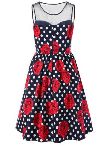Best Plus Size Floral and Polka Dot Bridesmaid Dress - 2XL BLACK AND WHITE AND RED Mobile