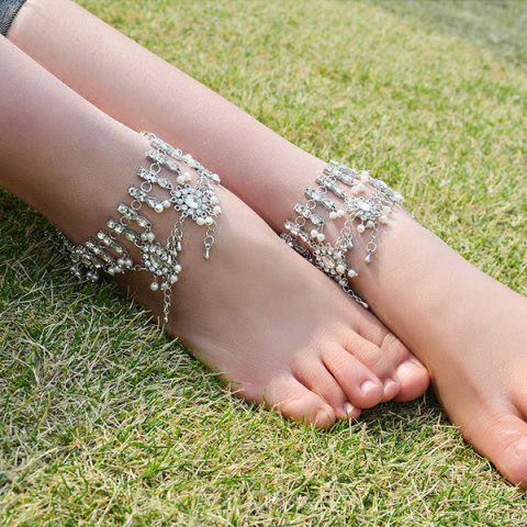 Latest Bohemian Alloy Layered Rhinestone Fringed Anklet - SILVER  Mobile