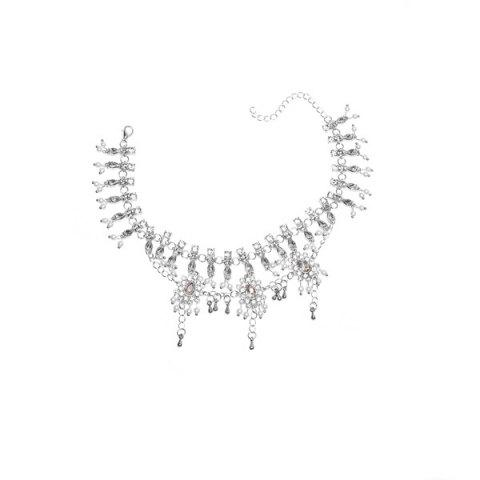 Outfits Bohemian Alloy Layered Rhinestone Fringed Anklet - SILVER  Mobile