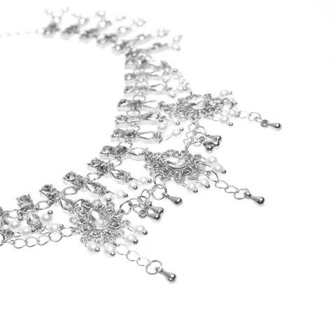 New Bohemian Alloy Layered Rhinestone Fringed Anklet - SILVER  Mobile