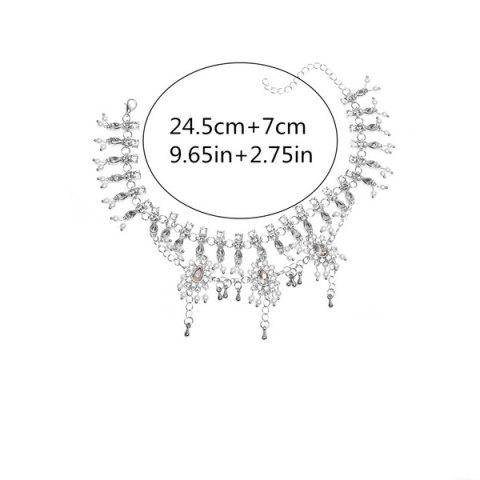 Trendy Bohemian Alloy Layered Rhinestone Fringed Anklet - SILVER  Mobile