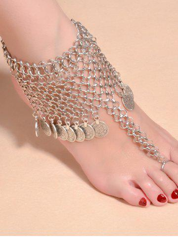 Cheap Alloy Mesh Coin Fringed Boho Belly Dance Anklet - SILVER  Mobile
