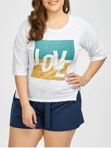 Fashion Plus Size Love Graphic T-Shirt - 2XL WHITE Mobile