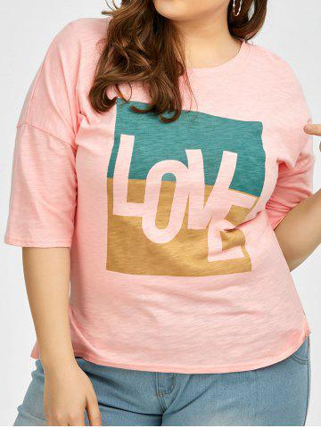 Affordable Plus Size Love Graphic T-Shirt PINK 2XL
