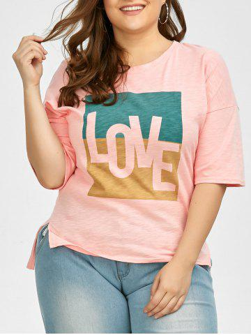New Plus Size Love Graphic T-Shirt - 2XL PINK Mobile