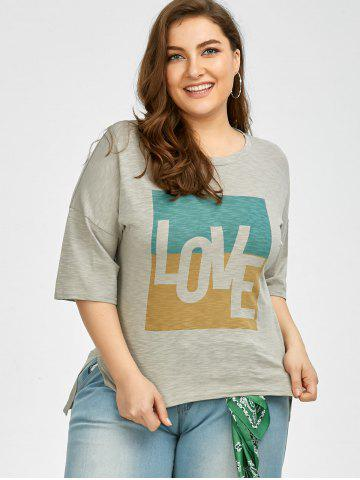 Trendy Plus Size Love Graphic T-Shirt - 3XL GRAY Mobile