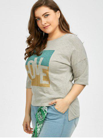 Hot Plus Size Love Graphic T-Shirt - 4XL GRAY Mobile