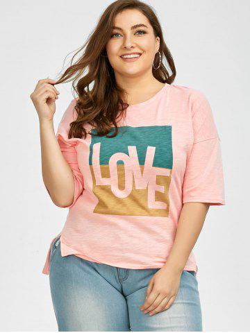 Latest Plus Size Love Graphic T-Shirt - 3XL PINK Mobile