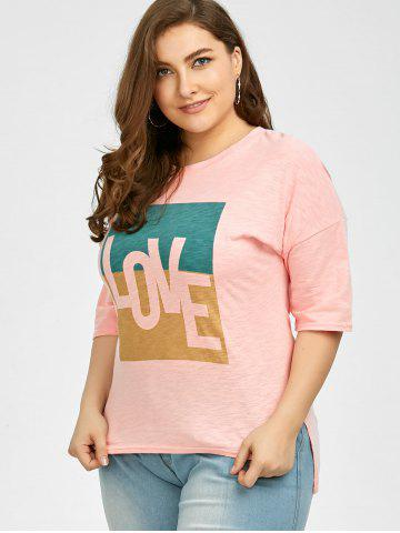 Affordable Plus Size Love Graphic T-Shirt - 3XL PINK Mobile