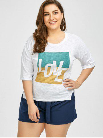 New Plus Size Love Graphic T-Shirt - 3XL WHITE Mobile
