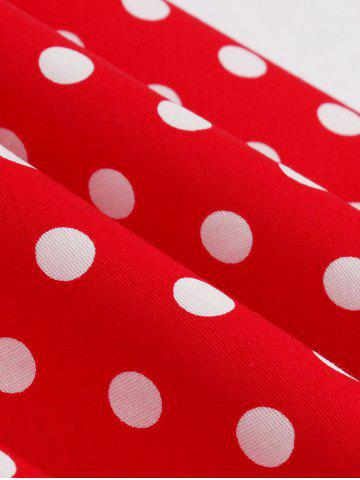 Chic Polka Dot Buttoned Pin Up Rockabilly Swing Dress - S RED Mobile