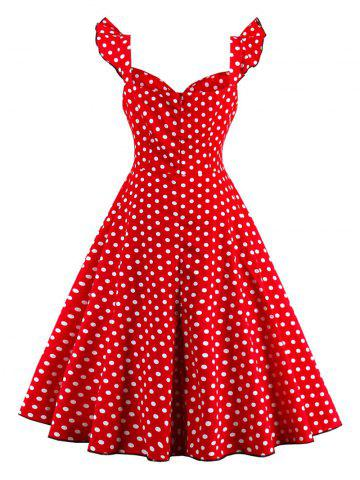 Chic Polka Dot Buttoned Pin Up Rockabilly Swing Dress - L RED Mobile