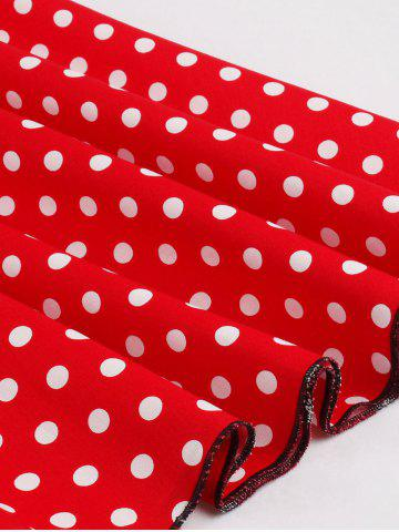 Trendy Polka Dot Buttoned Pin Up Rockabilly Swing Dress - XL RED Mobile