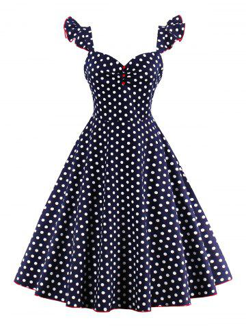 Sale Polka Dot Buttoned Pin Up Rockabilly Swing Dress PURPLISH BLUE S