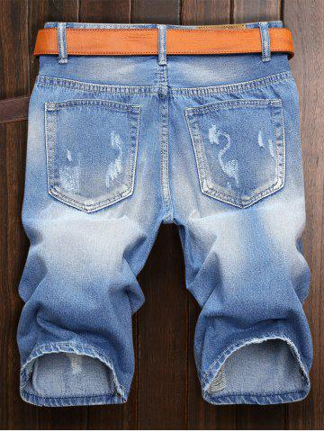 Outfit Zipper Fly Ripped Jean Shorts - 38 LIGHT BLUE Mobile