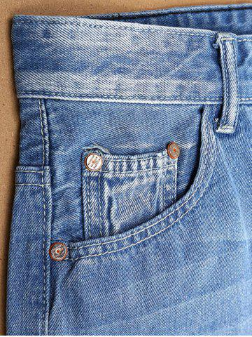 Latest Zipper Fly Ripped Jean Shorts - 38 LIGHT BLUE Mobile
