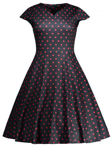 Store Vintage Polka Dot High Waist Flare Dress - M BLACK Mobile